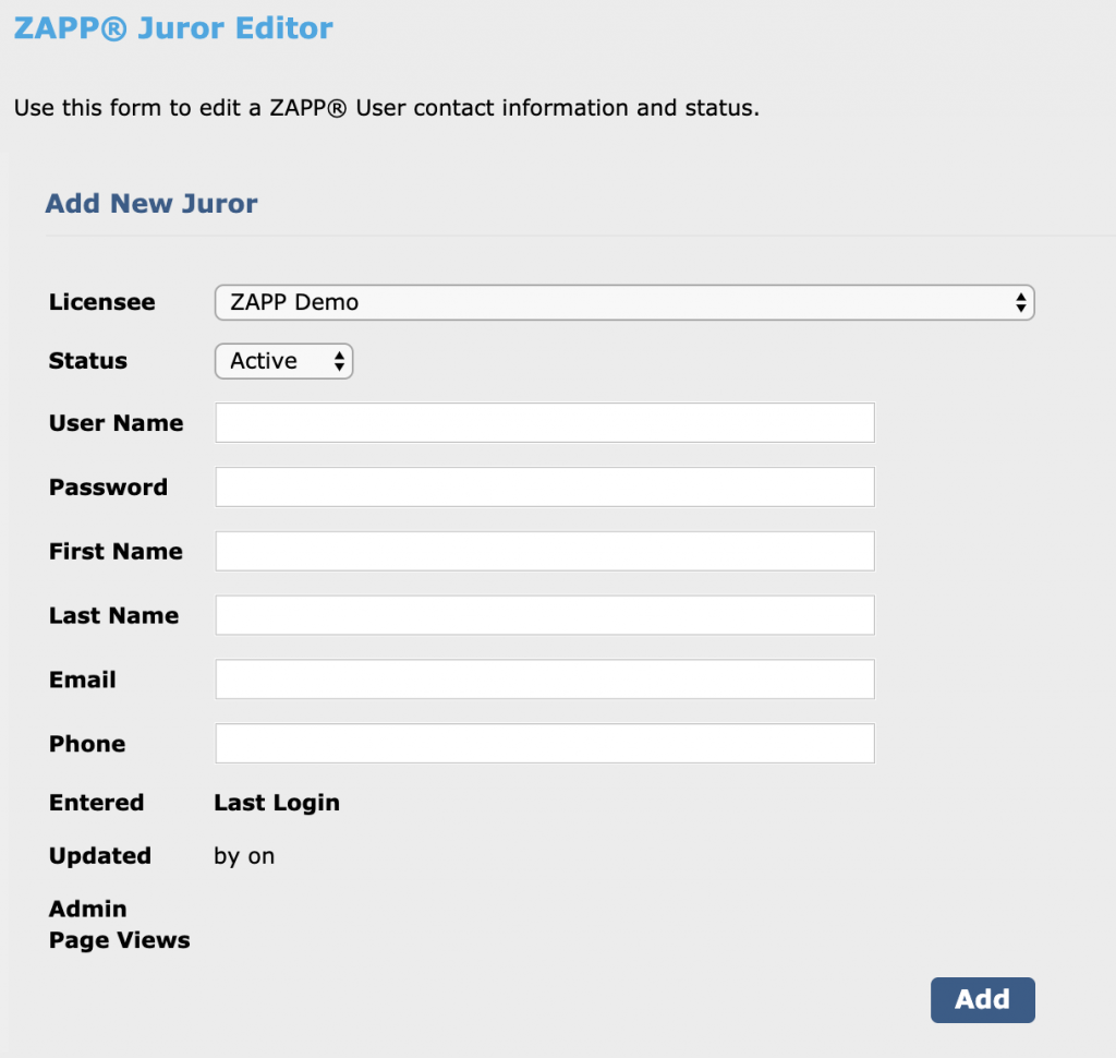 Image depicts the Add New Juror page. All fields are blank.