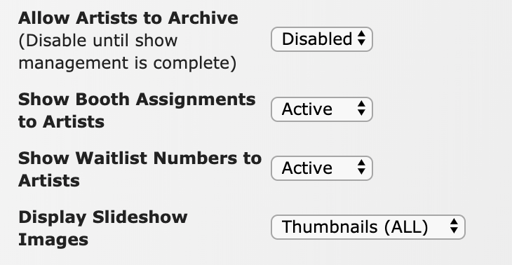 Image of the Allow Artists to Archive, Show Booth Assignments to Artists, Show Waitlist Numbers to Artists, and Displays Slideshow Images