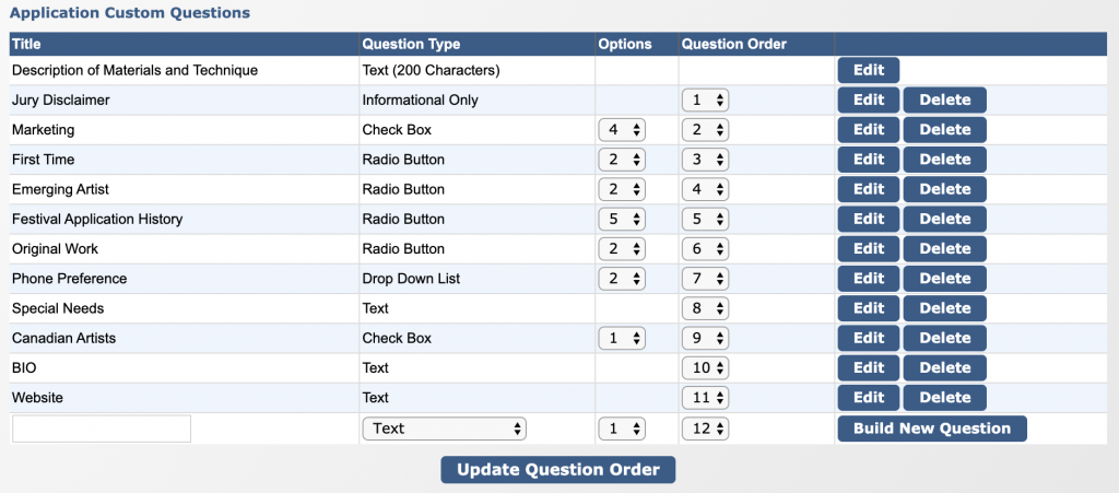 Image depicts the Application Custom Questions Table.
