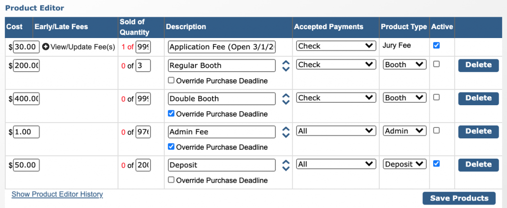 Image of the Product Editor with five products showing: Application Fee, Regular Booth, Double Booth, Admin Fee, and Deposit