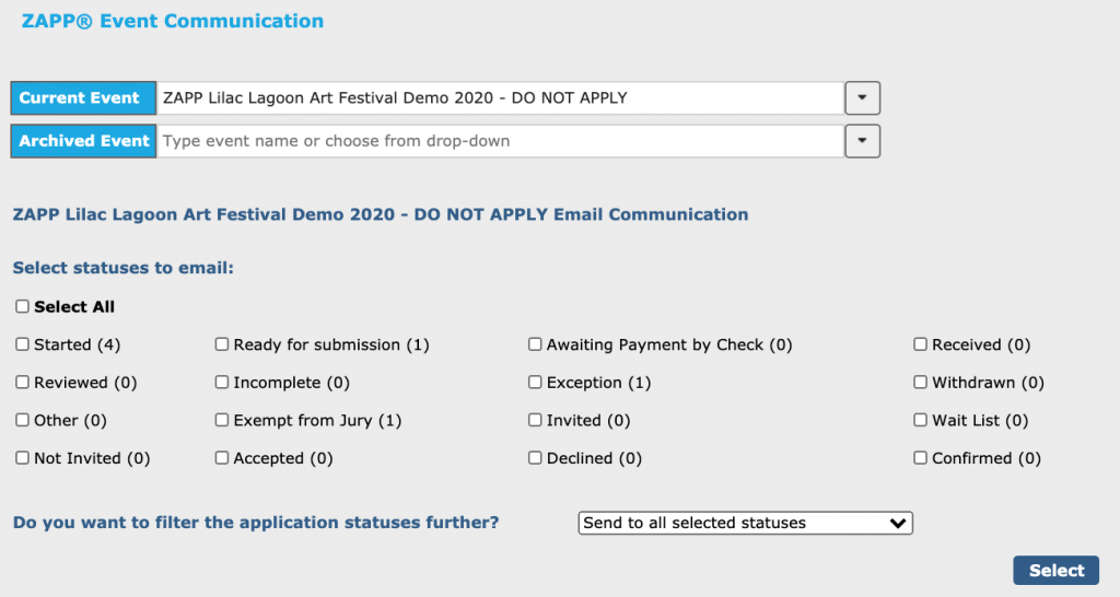 Image displays the ZAPP Communication page. Various checkboxes display for the different statuses and events can also filter by tags via a dropdown.