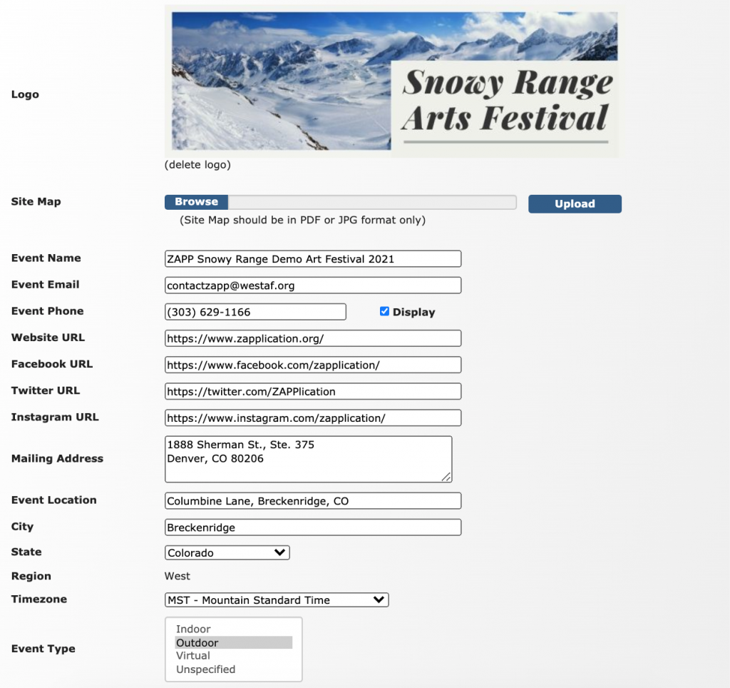 Image depicts the first section of the Event Information page. In this section, users can upload a logo and a site map, list the name of their event, the event email, the event phone number, the website URL, the Facebook URL, the Twitter URL, the Instagram URL, their Mailing Address, the Event Location, the City, State, and Region, the Timezone, and the Event Type