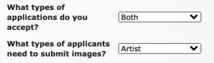 Image of the Event Information page showing the questions: What types of applications do you accept and What types of applicants need to submit images. The drop downs show that both non-artist and artist applications are being accepted but that only artist applications need to submit images with their application.