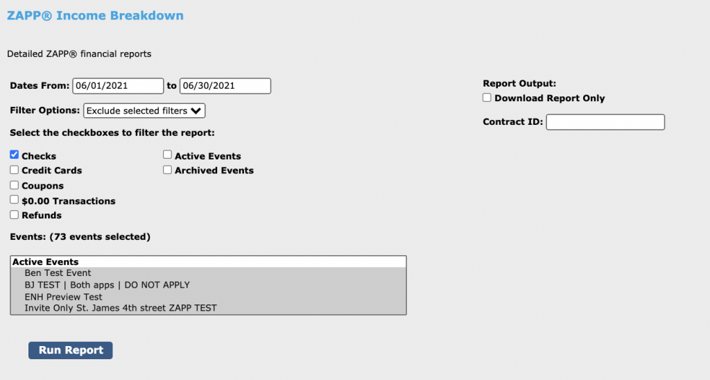 Image of the income breakdown report page